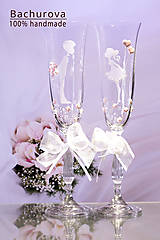 Šaty - Svadobné poháre (Pieskovaná mená a dátum sobáša) - 9435617_