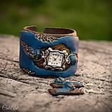 Medené ruže v modrom - sada hodiniek a náušníc