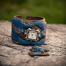 Náramky - Medené ruže v modrom - sada hodiniek a náušníc - 9435662_