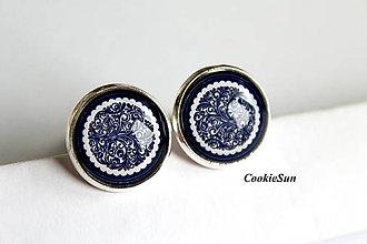 Šperky - Manžetové gombíky Modrotlač 16mm - 9436296_