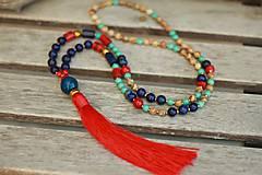 - Mala náhrdelník z minerálov lapis lazuli, korál, tyrkenit, jaspis - 9433722_