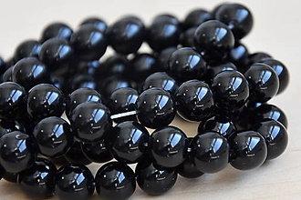 Minerály - Onyx čierny 10mm - šnúra 38ks - 9434574_