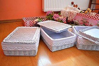 Košíky - Šedé krabičky s poklopom / ks - 9434153_