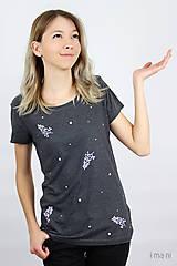 Tričká - Dámske tričko sivý melír kvet VII - 9434612_