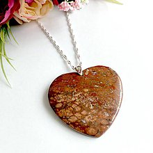 Náhrdelníky - Heart Jasper Leopard Necklace AG925 / Strieborný náhrdelník srdce Leopardí jaspis #0288 - 9438138_
