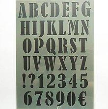 Pomôcky/Nástroje - Šablóna - 20x30 cm - abeceda, euro, číslice, čísla, písmená - 9437837_