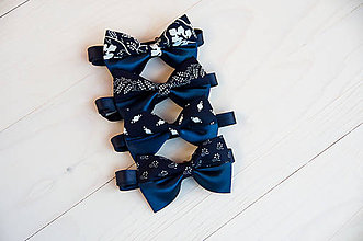 Doplnky - Modrotlačový motýlik s modrým saténom - 9436779_