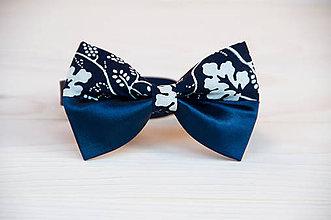 Doplnky - Modrotlačový motýlik s modrým saténom (Variant III.) - 9436782_
