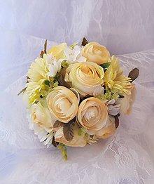 Kytice pre nevestu - svadobná kytica v pastelových farbách, krémová.... - 9438008_