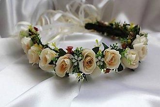 Ozdoby do vlasov - Kvetinový venček pre nevestu krémový - 9437186_