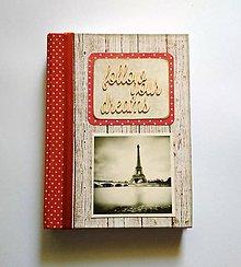 Papiernictvo - Ručne šitý diár * zápisník * sketchbook A5 ,,Paríž