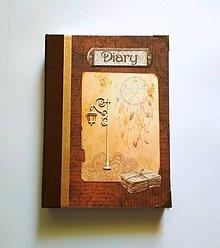 Papiernictvo - Ručne šitý denník/notes/zápisník/diár/náčrtník/skicár ,,Dream Land