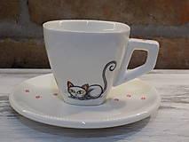 Nádoby - Šálka - 3 biele mačky - 9439223_