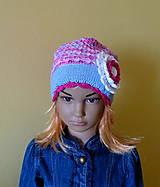 Detské čiapky - Modro ruzovo biela bavlnena prechodna SKLADOM - 9437254_