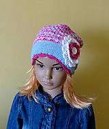 Detské čiapky - Modro ruzovo biela bavlnena prechodna SKLADOM - 9437255_
