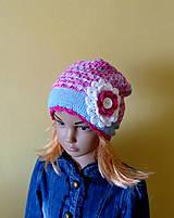Detské čiapky - Modro ruzovo biela bavlnena prechodna SKLADOM - 9437256_