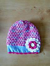 Detské čiapky - Modro ruzovo biela bavlnena prechodna SKLADOM - 9437257_