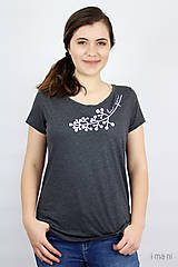 Tričká - Dámske tričko sivý melír kvet VI - 9438522_