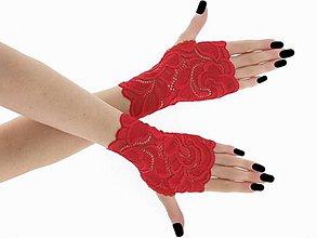 Rukavice - Dámské čipkové rukavice červené 01 - 9439731_
