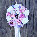 Dekorácie - Veniec na dvere romantický, fialový s levanduľou a krajkou - 9441619_