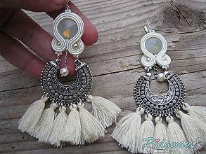 Náušnice - Hippie collection...soutache (Ivory tassels) - 9440865_