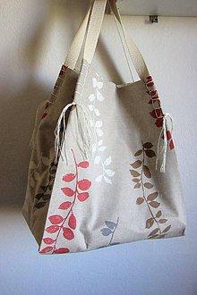 Veľké tašky - Veľká letná ľanová taška prírodnej farby s vetvičkami - 9442172_