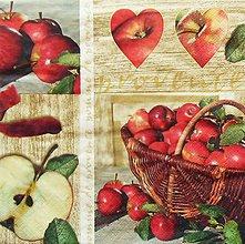 Papier - S1191 - Servítky - jablko, jabĺčko, apple, košík, srdce, srdiečko - 9440487_