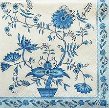 Papier - S1193 - Servítky - cibuľový vzor, cibulák, kvety, ornament - 9440591_