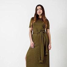 Šaty - Dlhé šaty Khaki -30% - 9441647_