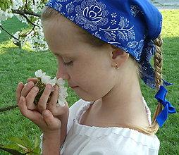 Šatky - Šatka Bordúra Folk modrá - 9440249_