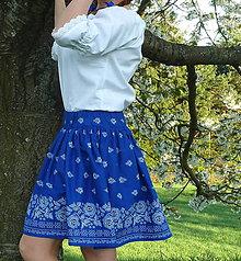 Sukne - Sukienka Bordúra Folk na modrej krátka - 9440558_