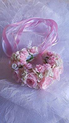 Ozdoby do vlasov - parta pre nevestu ružová - 9441776_