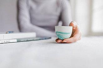 Nádoby - espresso šálka, mramor zelený - 9442328_