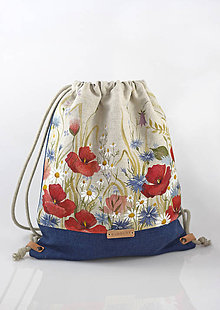 Batohy - Kvetinový batoh z ľanu s ručnou maľbou