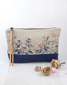 "Kabelky - Veľká listová kabelka z francúzskeho ľanu s ručnou maľbou ""BlueRosie"" - 9441673_"