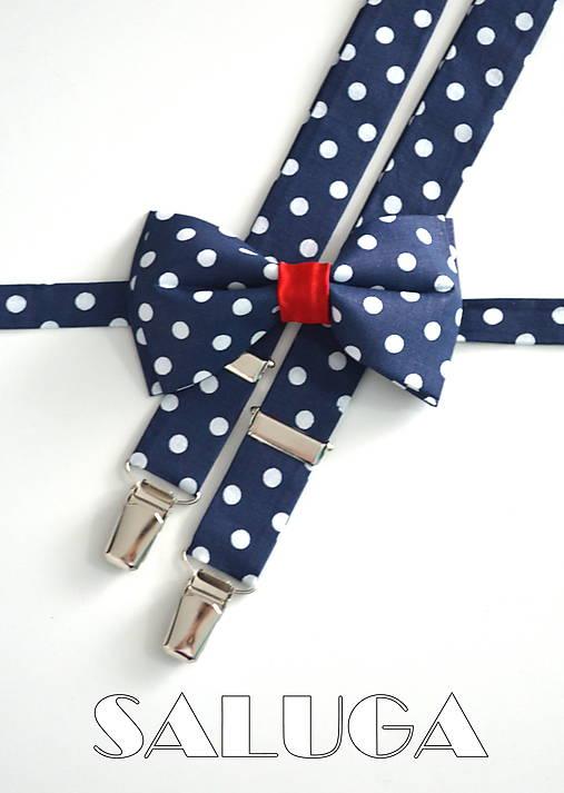 Retro tmavo modrý na biele bodky s červeným motýlik + traky   SALUGA ... bd07cdd27cb
