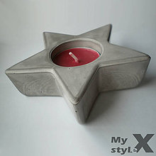 Svietidlá a sviečky - Betónový svietnik STAR