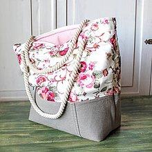Veľké tašky - Ľanovo-plátenná kabelka - 9439836_