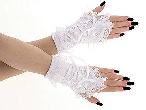 Rukavice - Dámské biele rukavičky s korzetovým šnurovaním 1320M - 9439721_