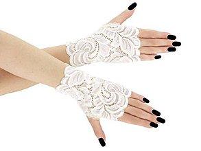 Rukavice - Dámské svadobné ivory čipkové rukavice 01BA1 (Červená) - 9439727_
