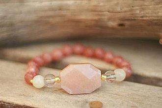 Náramky - Náramok z minerálu slnečný a mesačný kameň - 9441000_