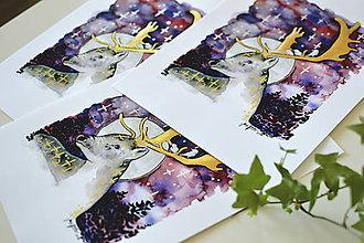 Grafika - Jeleň a les, akvarel výtlačok (print) - 9440760_
