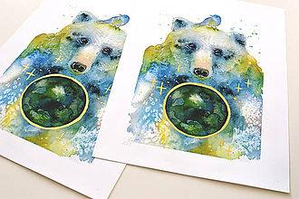 Grafika - Medveď a planéta, akvarel výtlačok (print) - 9441826_