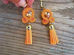Náušnice - Simple- tassels...Soutache (Oranžová) - 9443807_
