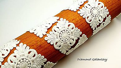 Galantéria - Krajka 38 mm biela - cena za 10 cm - 9443439_