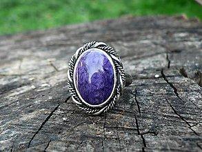 Prstene - Strieborný Prsteň s Čaroitom - 9443999_