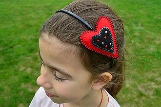 Ozdoby do vlasov - Srdiečková červená&čierna - 9444574_