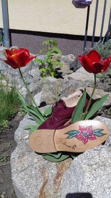 Obuv - Hand made dámské topánky z kože s dizajnovou koženou podrážkou - 9443285_