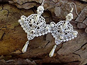 Náušnice - čipkové svadobné náušnice - Ivory + strieborná - 9443087_