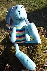 Hračky - Bubo: svetlo modrý dúhový bavlnený zajko - 9443995_
